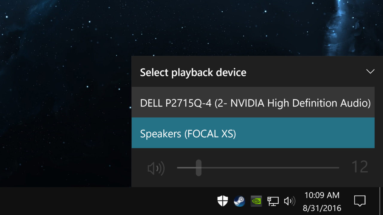 Quickly Change the Audio Playback Device in Windows 10 Anniversary