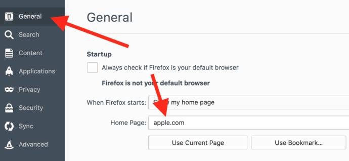 change homepage firefox