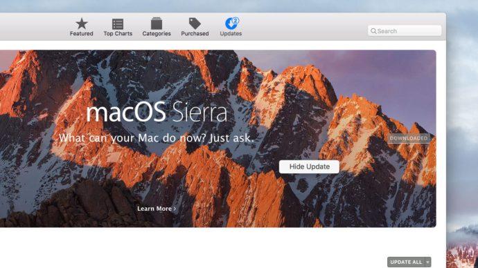 hide sierra update banner app store