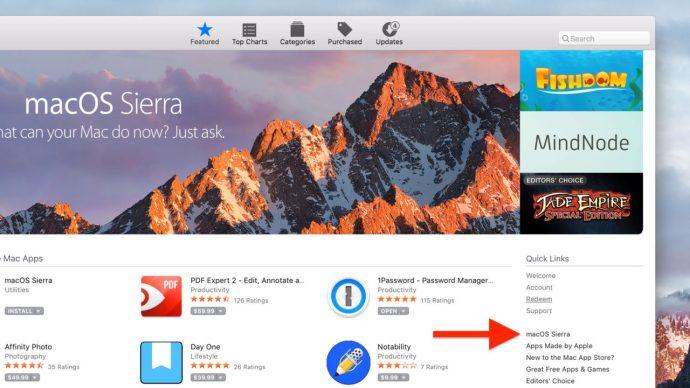 macos sierra mac app store