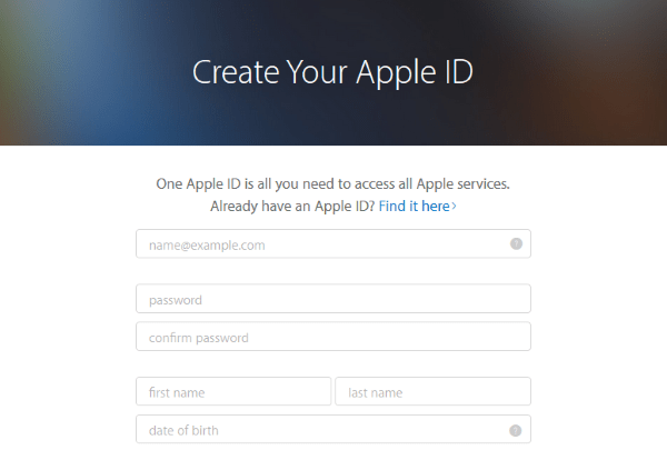 images for create apple id