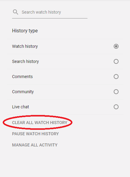 how to delete history from youtube