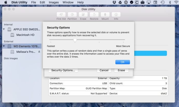 Security Options Window