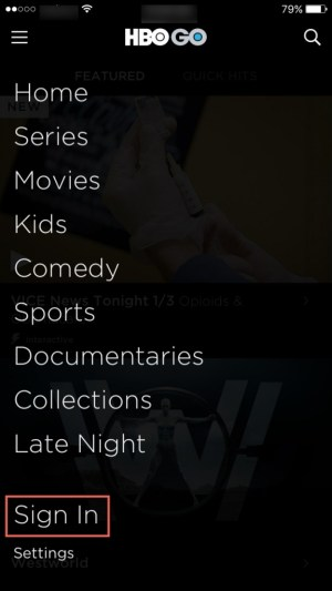 Sign In HBO GO app