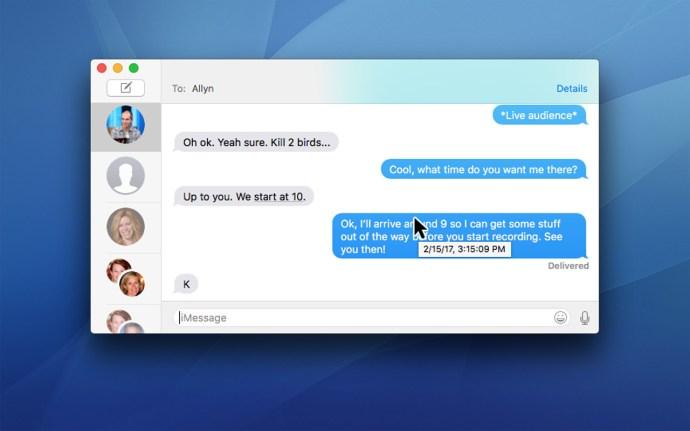 messages timestamp mac