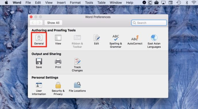 word for mac preferences general
