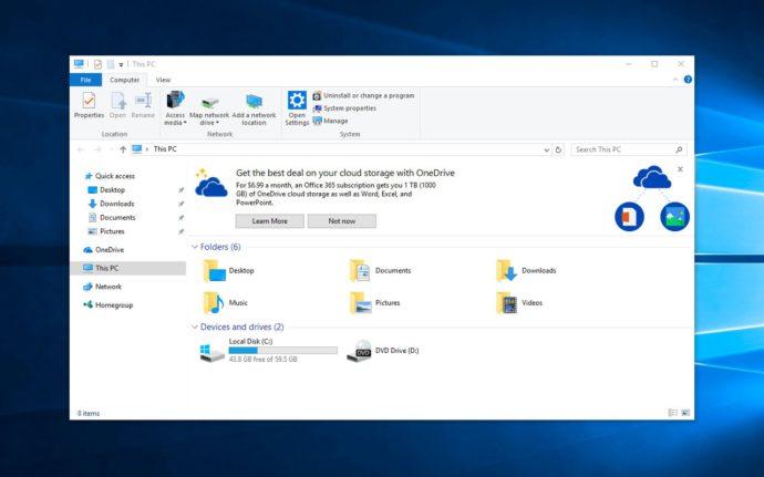 onedrive ad windows 10 file explorer