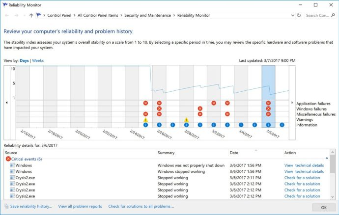 windows reliability monitor events