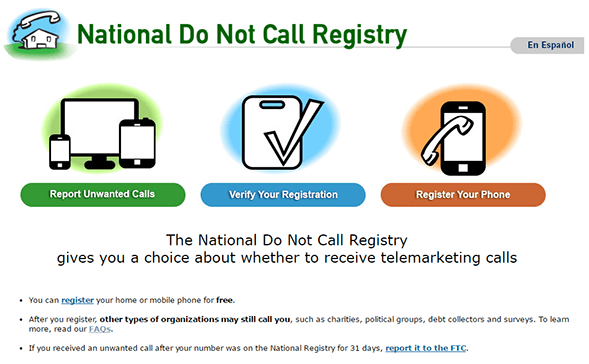 FTC National Do not call the registry