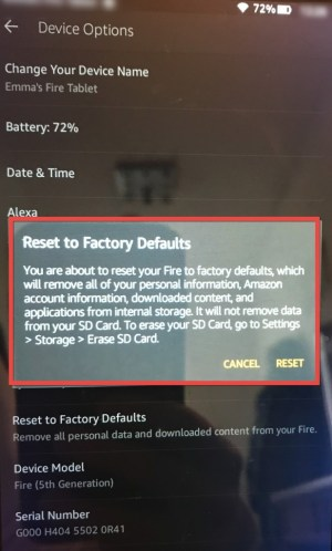 Reset Kindle Fire Tablet