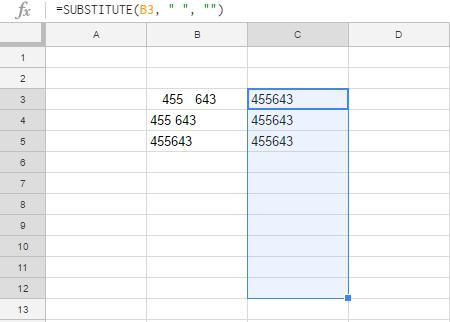 Google Sheets Substitute Function