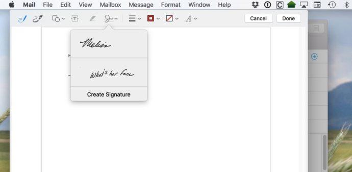 mail markup signature