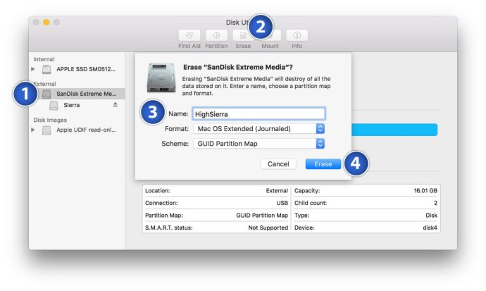 prepare bootable high sierra usb installer