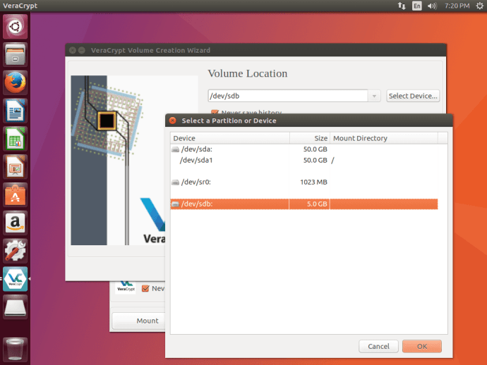 VeraCrypt choose volume location