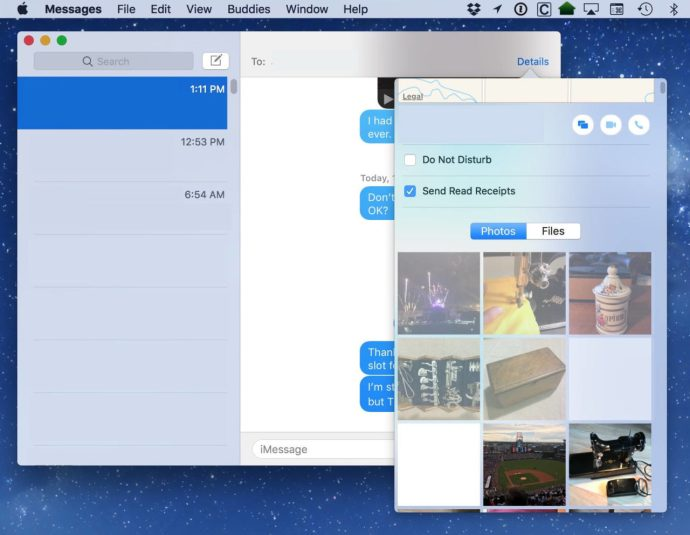 select images messages mac