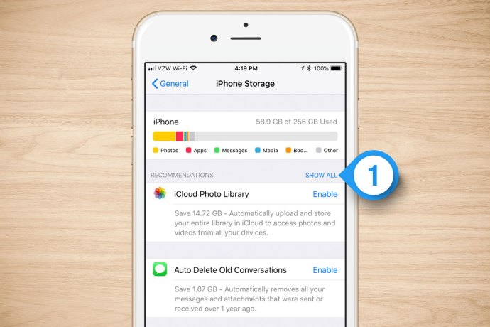 iphone storage show all