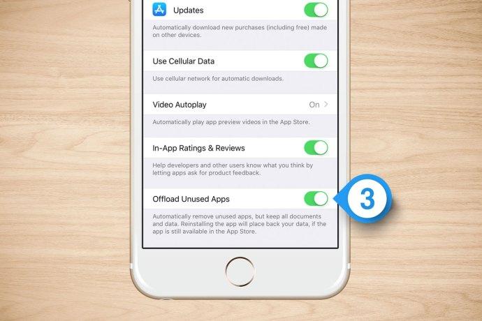 offload unused apps turn off