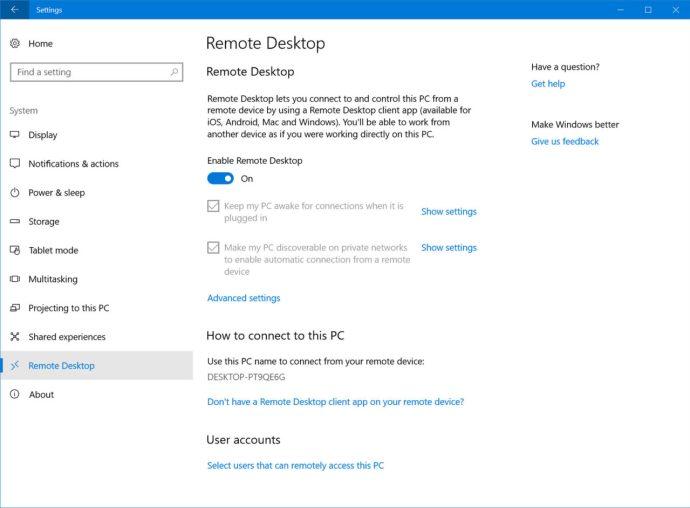 windows 10 remote desktop fall creators update