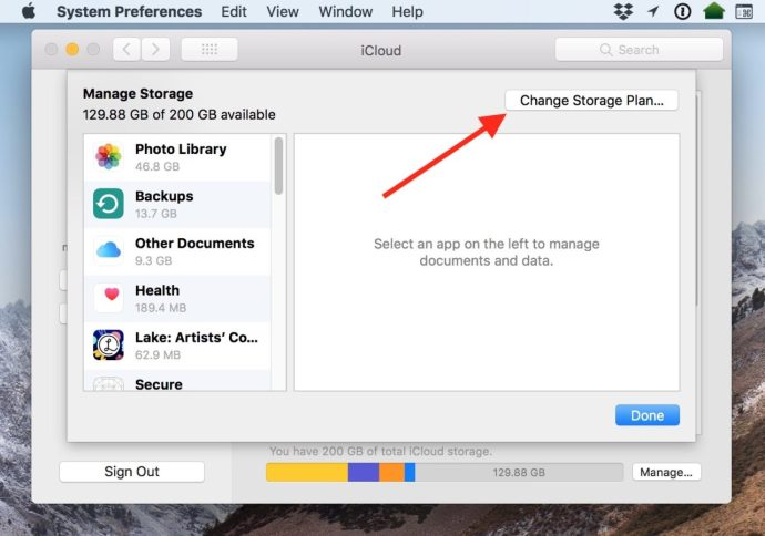 Change Storage Plan Button