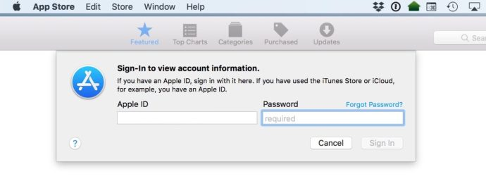 Enter Apple ID Dialog