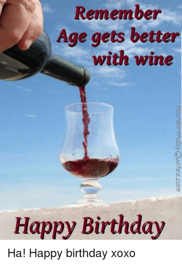 Happy birthday meme with images of wine