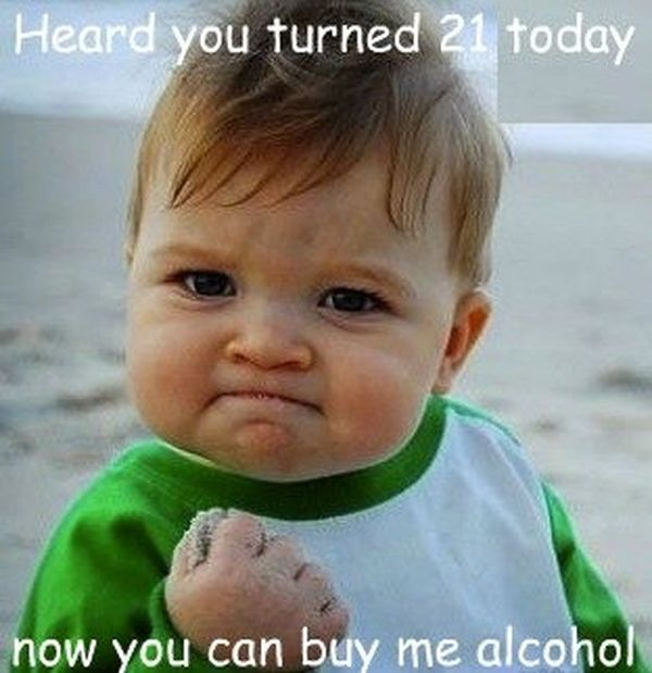 Cute 21st birthday meme
