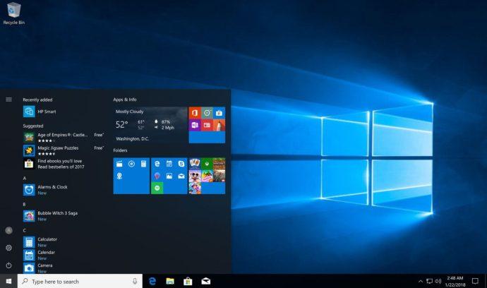 windows 10 start menu folders