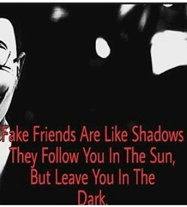 Fake Friends are Like Shadows They Follow You in the Sun...