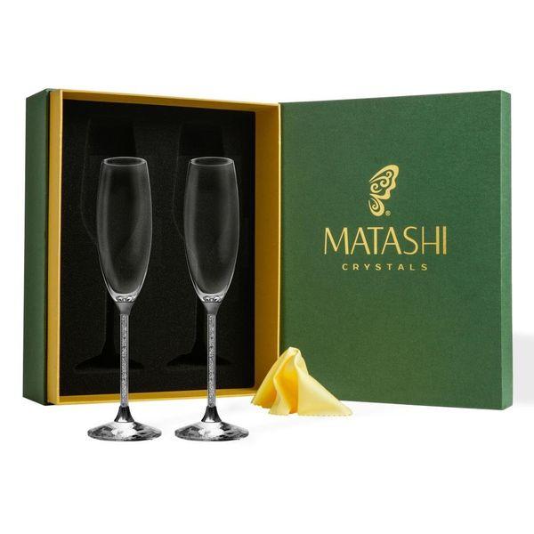 Matashi Crystal Champagne Flutes Glasses