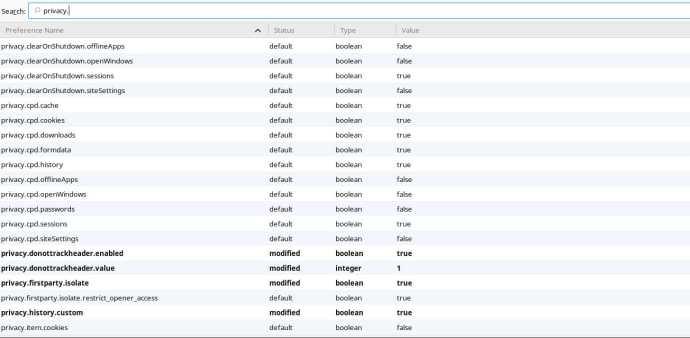 Firefox Advanced Config