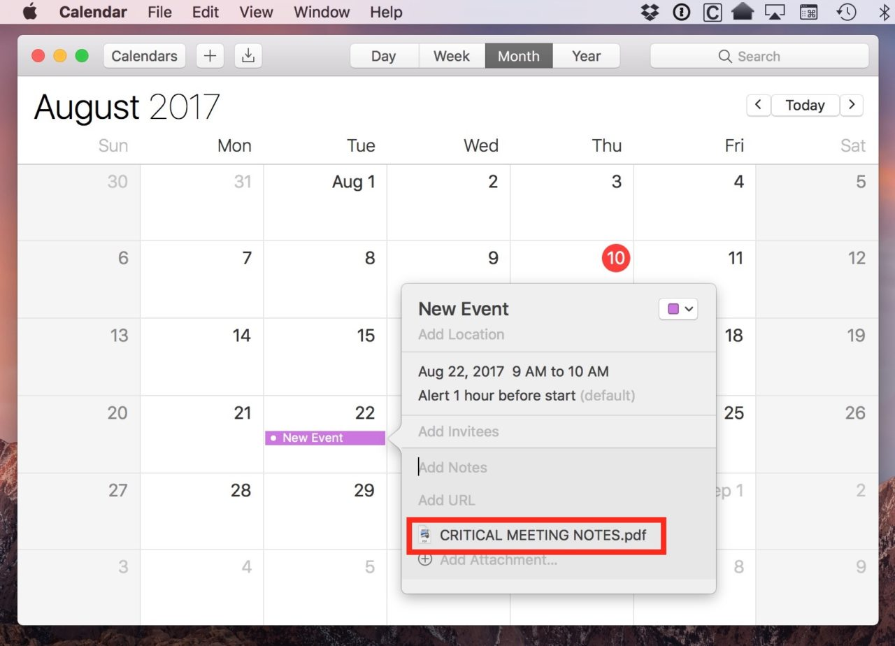 Use Event Attachments in Apple Calendar to Prepare for the Big Meeting