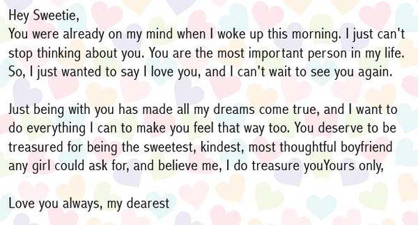 Cute Love Letters for Boyfriend