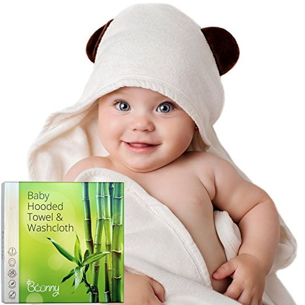Organic Bamboo Hooded Baby Towel and Washcloth Set
