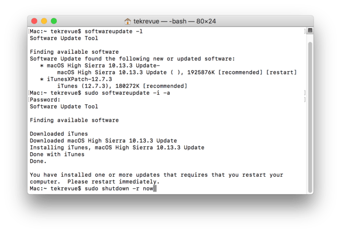 mac software update terminal