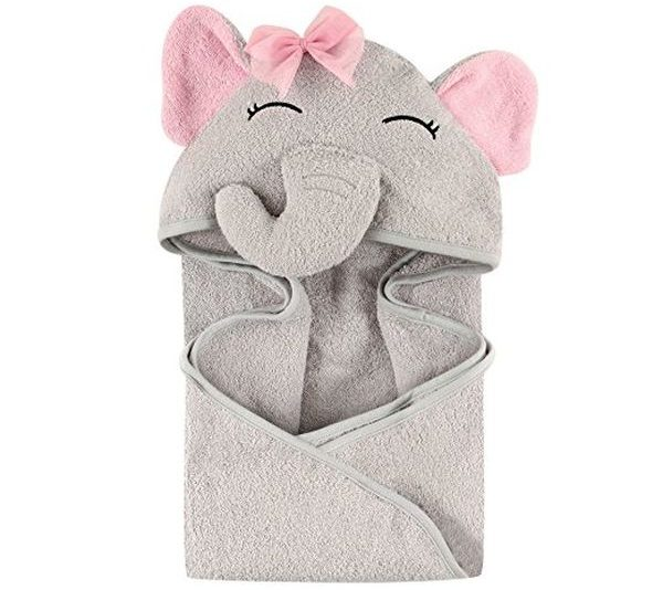 Hudson Baby Animal Face Hooded Towel for Girls