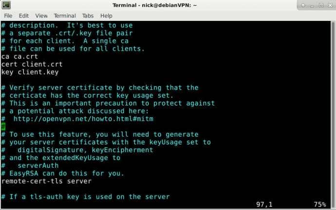 OpenVPN Client Config Keys
