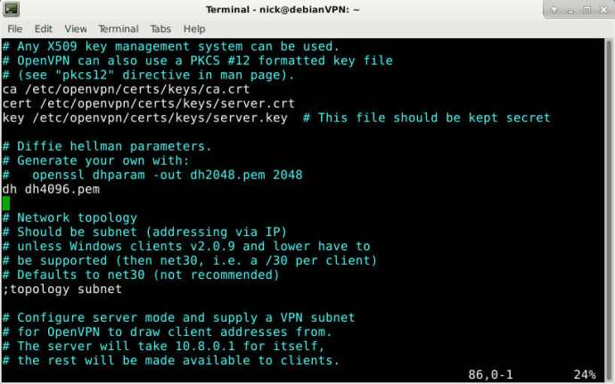 OpenVPN Server Config Keys