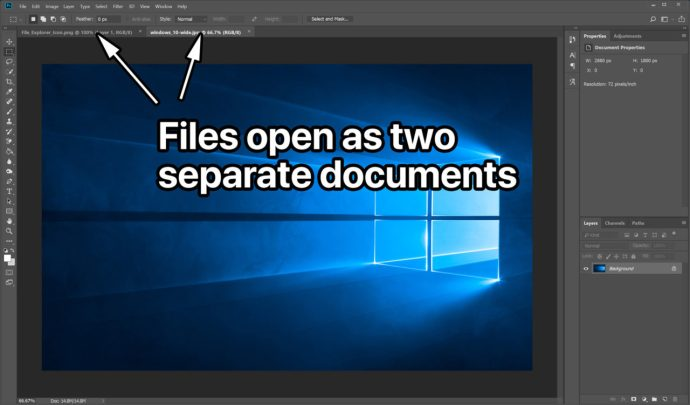 photoshop open files separate documents