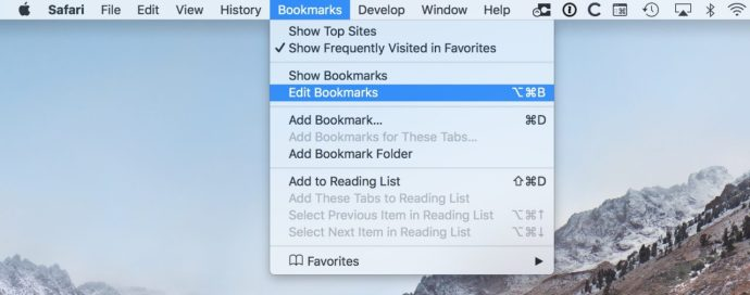 edit bookmarks safari mac