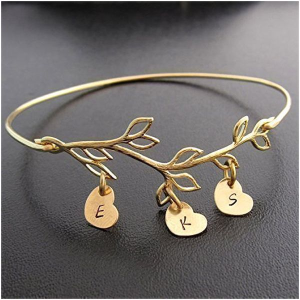 Family Tree Branch Bracelet with Stamped Initials