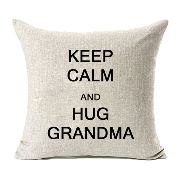 Keep Calm and Hug Grandma Cotton Linen Pillow Cover