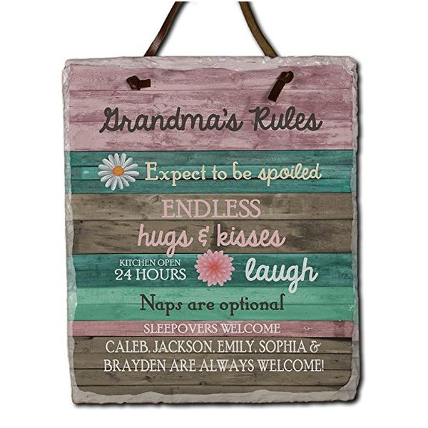 Personalized Grandma's Rules Slate Plaque