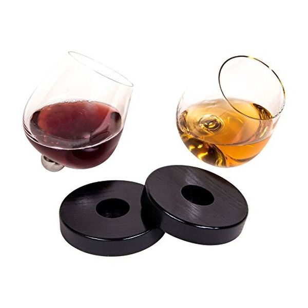 Unique Stemless Spill Resistant Aerating Glass for Wine & Spirits with Coasters