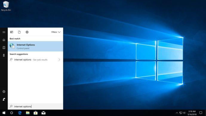 internet options start menu