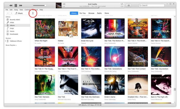 itunes iphone connected