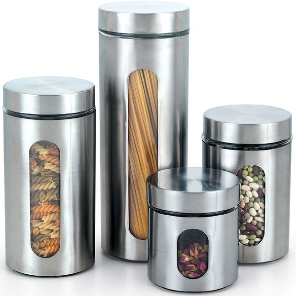 Cook N Home Glass Canister with Stainless Window Set