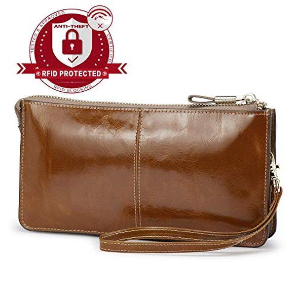 Lecxci Luxury Womens Genuine Leather Clutch