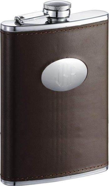 Personalized Brown Leather Stainless Steel 8 oz. Flask