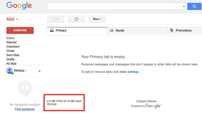 google storage space info