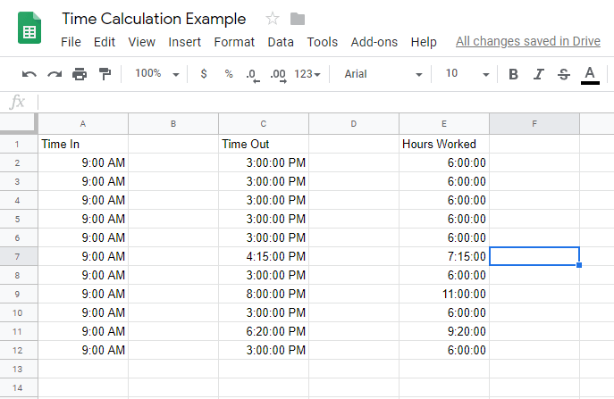How To Calculate Time in Google Sheets